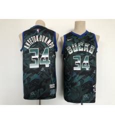 Men's Nike Milwaukee Bucks #34 Giannis Antetokounmpo Hunter Green Authentic Jersey