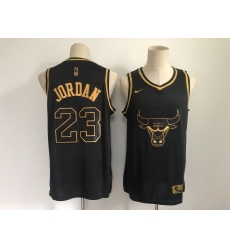 Men's Chicago Bulls #23 Michael Jordan Nike Black Gold Swingman Player Jersey