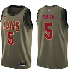 Youth Nike Cleveland Cavaliers #5 J.R. Smith Swingman Green Salute to Service NBA Jersey