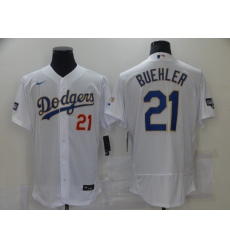 Men's Los Angeles Dodgers #21 Walker Buehl White Nike World Series Champions Authentic Jersey