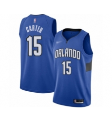 Men's Orlando Magic #15 Vince Carter Authentic Blue Finished Basketball Jersey - Statement Edition