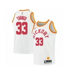 Men's Indiana Pacers #33 Myles Turner Authentic White Hardwood Classics Basketball Jersey