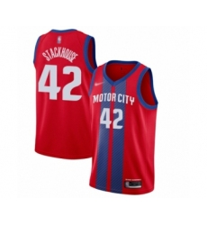 Men's Detroit Pistons #42 Jerry Stackhouse Swingman Red Basketball Jersey - 2019 20 City Edition