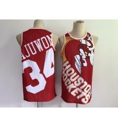 Men's Houston Rockets #34 Hakeem Olajuwon Red Big Face-2.0 Jersey