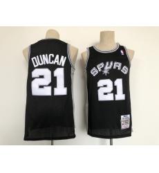 Men's San Antonio Spurs #21 Tim Duncan Black Throwback Swingman Jersey