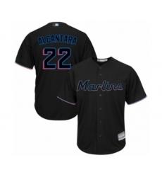 Men's Miami Marlins #22 Sandy Alcantara Replica Black Alternate 2 Cool Base Baseball Jersey