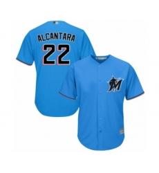 Men's Miami Marlins #22 Sandy Alcantara Replica Blue Alternate 1 Cool Base Baseball Jersey