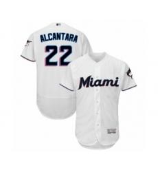Men's Miami Marlins #22 Sandy Alcantara White Home Flex Base Authentic Collection Baseball Jersey