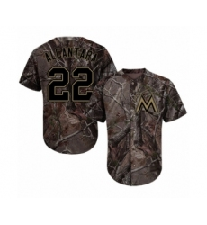 Youth Miami Marlins #22 Sandy Alcantara Authentic Camo Realtree Collection Flex Base Baseball Jersey