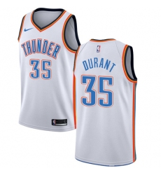Men's Nike Oklahoma City Thunder #35 Kevin Durant Authentic White Home NBA Jersey - Association Edition