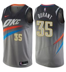 Men's Nike Oklahoma City Thunder #35 Kevin Durant Swingman Gray NBA Jersey - City Edition