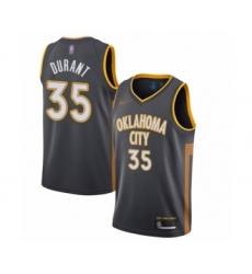 Men's Oklahoma City Thunder #35 Kevin Durant Swingman Charcoal Basketball Jersey - 2019 20 City Edition