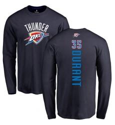 NBA Nike Oklahoma City Thunder #35 Kevin Durant Navy Blue Backer Long Sleeve T-Shirt