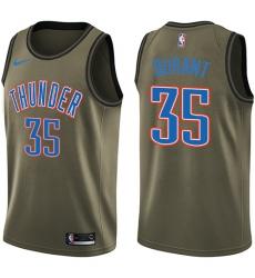 Youth Nike Oklahoma City Thunder #35 Kevin Durant Swingman Green Salute to Service NBA Jersey