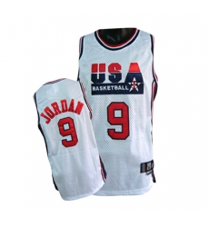 Men's Nike Team USA #9 Michael Jordan Authentic White Summer Olympics Basketball Jersey