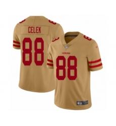 Men's San Francisco 49ers #88 Garrett Celek Limited Gold Inverted Legend Football Jersey