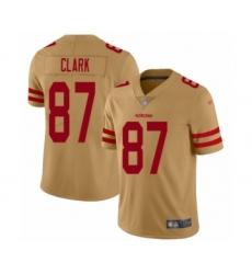 Men's San Francisco 49ers #87 Dwight Clark Limited Gold Inverted Legend Football Jersey