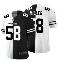 Men's Denver Broncos #58 Von Miller Black White Limited Split Fashion Football Jersey