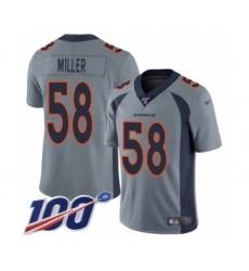 Men's Nike Denver Broncos #58 Von Miller Limited Silver Inverted Legend 100th Season NFL Jersey