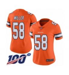 Women's Nike Denver Broncos #58 Von Miller Limited Orange Rush Vapor Untouchable 100th Season NFL Jersey