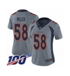 Women's Nike Denver Broncos #58 Von Miller Limited Silver Inverted Legend 100th Season NFL Jersey