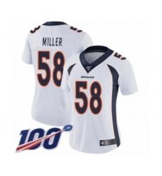 Women's Nike Denver Broncos #58 Von Miller White Vapor Untouchable Limited Player 100th Season NFL Jersey