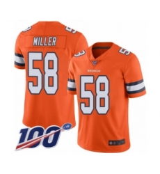 Youth Nike Denver Broncos #58 Von Miller Limited Orange Rush Vapor Untouchable 100th Season NFL Jersey