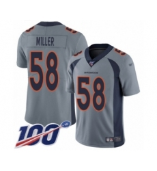 Youth Nike Denver Broncos #58 Von Miller Limited Silver Inverted Legend 100th Season NFL Jersey