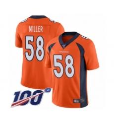 Youth Nike Denver Broncos #58 Von Miller Orange Team Color Vapor Untouchable Limited Player 100th Season NFL Jersey
