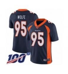 Men's Denver Broncos #95 Derek Wolfe Navy Blue Alternate Vapor Untouchable Limited Player 100th Season Football Jersey