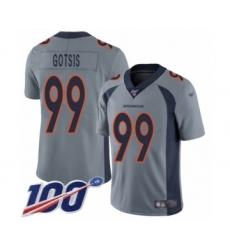 Men's Denver Broncos #99 Adam Gotsis Limited Silver Inverted Legend 100th Season Football Jersey