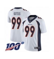 Men's Denver Broncos #99 Adam Gotsis White Vapor Untouchable Limited Player 100th Season Football Jersey