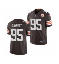 Men's Cleveland Browns #95 Myles Garrett 2021 Brown 75th Anniversary Patch Vapor Untouchable Limited Jersey