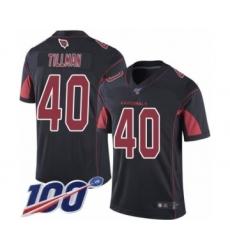 Men's Arizona Cardinals #40 Pat Tillman Limited Black Rush Vapor Untouchable 100th Season Football Jersey