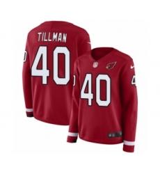 Women's Nike Arizona Cardinals #40 Pat Tillman Limited Red Therma Long Sleeve NFL Jersey