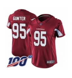 Women's Arizona Cardinals #95 Rodney Gunter Red Team Color Vapor Untouchable Limited Player 100th Season Football Jersey