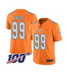 Men's Miami Dolphins #99 Jason Taylor Limited Orange Rush Vapor Untouchable 100th Season Football Jersey