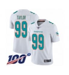 Men's Miami Dolphins #99 Jason Taylor White Vapor Untouchable Limited Player 100th Season Football Jersey