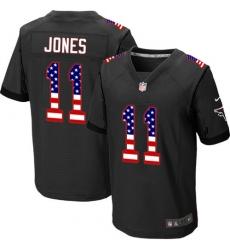 Men's Nike Atlanta Falcons #11 Julio Jones Elite Black Alternate USA Flag Fashion NFL Jersey