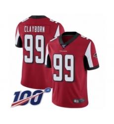 Men's Atlanta Falcons #99 Adrian Clayborn Red Team Color Vapor Untouchable Limited Player 100th Season Football Jersey