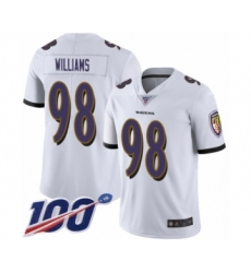 Men's Baltimore Ravens #98 Brandon Williams White Vapor Untouchable Limited Player 100th Season Football Jersey