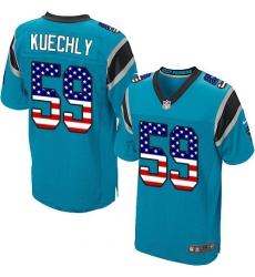 Men's Nike Carolina Panthers #59 Luke Kuechly Elite Blue Alternate USA Flag Fashion NFL Jersey