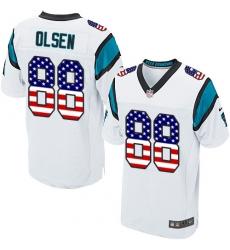 Men's Nike Carolina Panthers #88 Greg Olsen Elite White Road USA Flag Fashion NFL Jersey