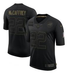 Men's Carolina Panthers #22 Christian McCaffrey Black Nike 2020 Salute To Service Limited Jersey