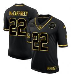 Men's Carolina Panthers #22 Christian McCaffrey Olive Gold Nike 2020 Salute To Service Limited Jersey