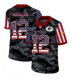Men's Green Bay Packers #12 Aaron Rodgers Camo Flag Nike Limited Jersey