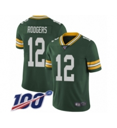 Men's Green Bay Packers #12 Aaron Rodgers Green Team Color Vapor Untouchable Limited Player 100th Season Football Jersey