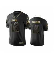 Men's Green Bay Packers #12 Aaron Rodgers Limited Black Golden Edition Limited Football Jerse