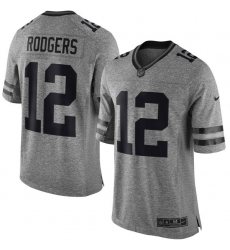 Men's Nike Green Bay Packers #12 Aaron Rodgers Limited Gray Gridiron NFL Jersey