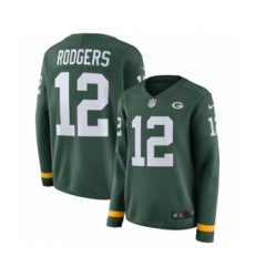 Youth Nike Green Bay Packers #12 Aaron Rodgers Limited Green Therma Long Sleeve NFL Jersey